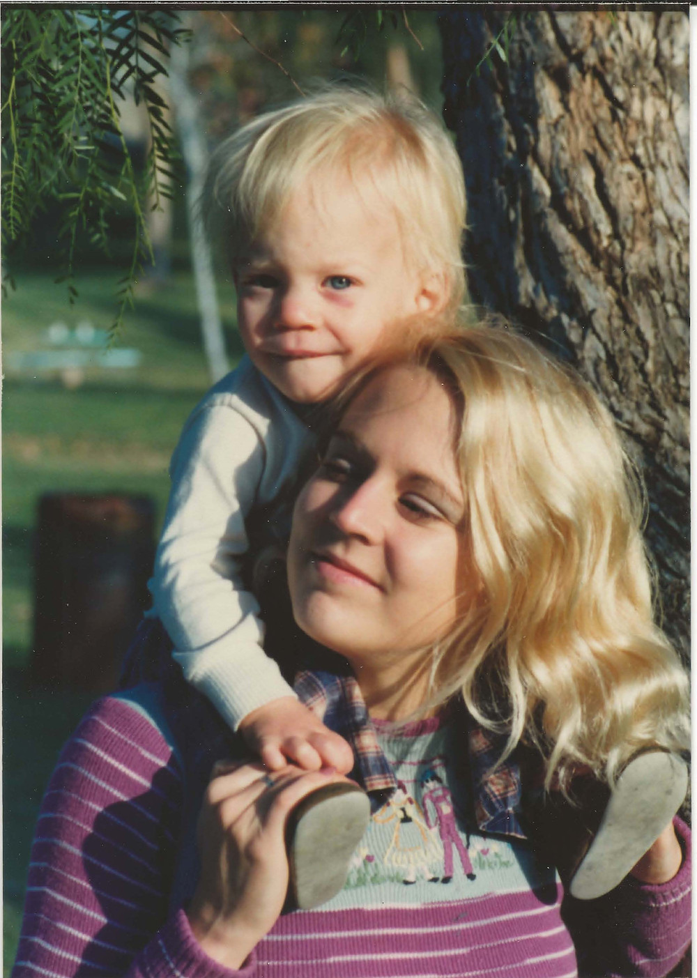 A picture of sharon and her son at 5 months old