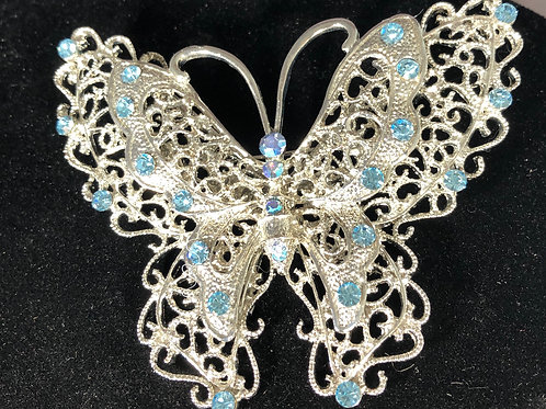 Large butterfly brooch with SKY BLUEcrystals
