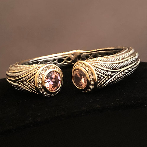 Designer TWO TONE hinged cable bracelet in cubic zircon