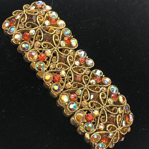 Gold Aurora Borealis in champagne elastic bracelet