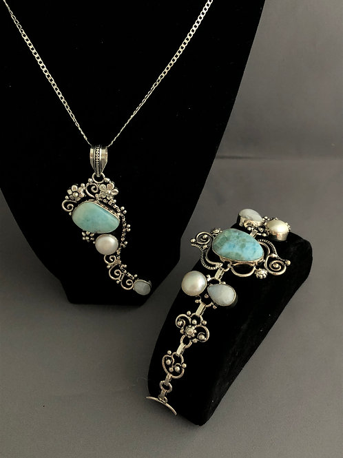 Sterling silver, Larimar and freshwater pearl necklace/bracelet