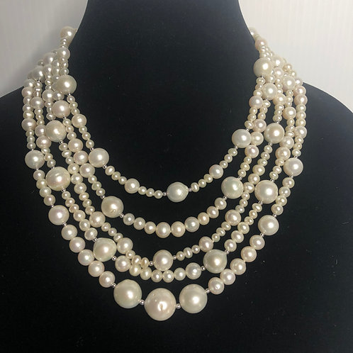5 strands of white FWP necklace with sterling silver beads