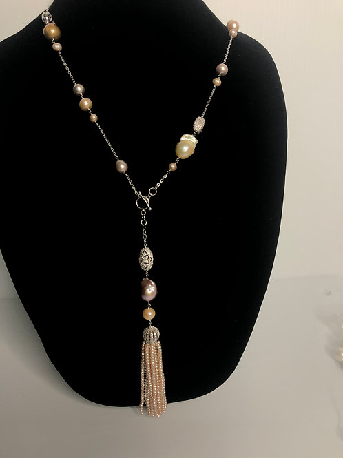 Peach and pink FWP toggle tassel necklace in sterling silver