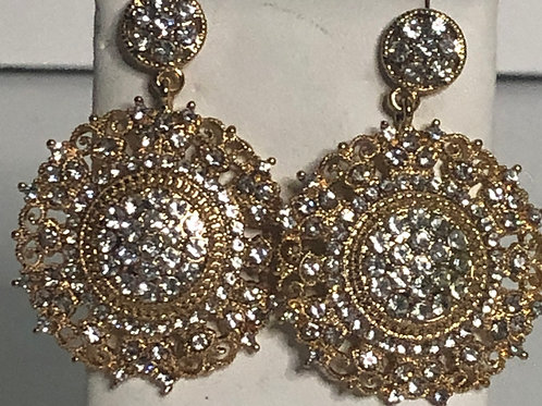Gold ornate round earring