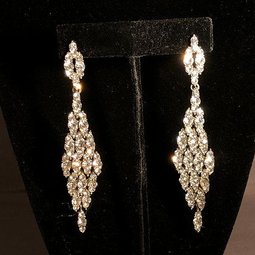 Silver line crystal earring