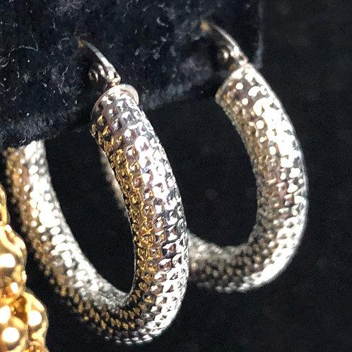 Stainless steel silver hoop earring