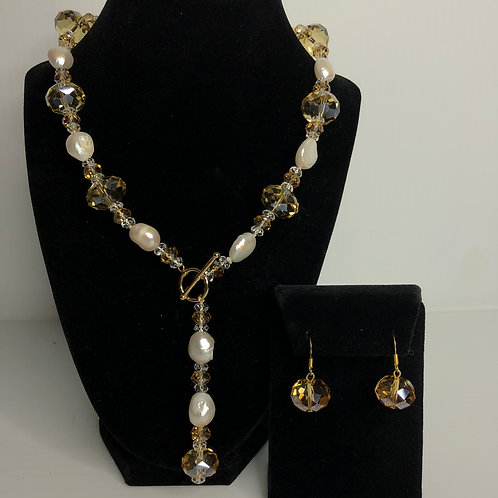 """White Freshwater pearls and Swarovski crystals in a """"Y"""" drop design with matchin"""