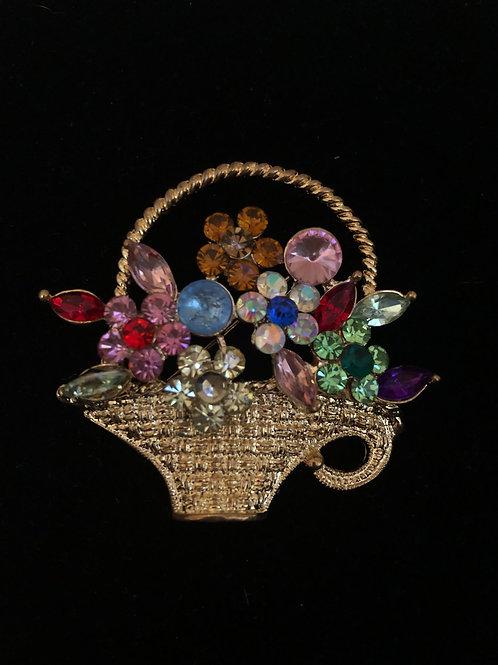 Gold multi colored Austrian crystal flower basket brooch