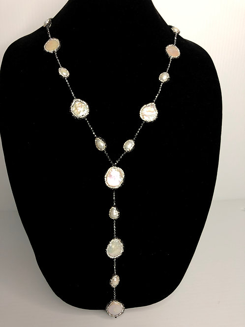 """""""Y"""" Drop white Freshwater coin pearls necklace"""