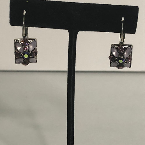 Lilac flower crystal lever back earring