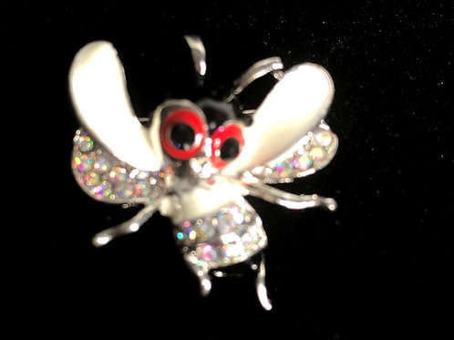 White cheerful bee brooch
