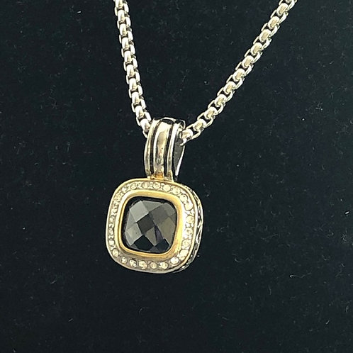 Designer look Black pendant on rhodium adjustable chain