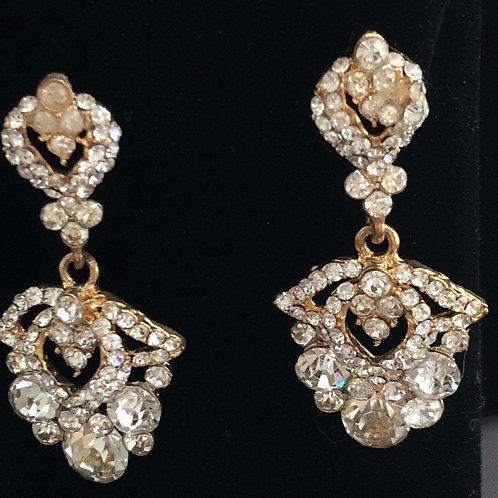 Gold chandelier crystal earring