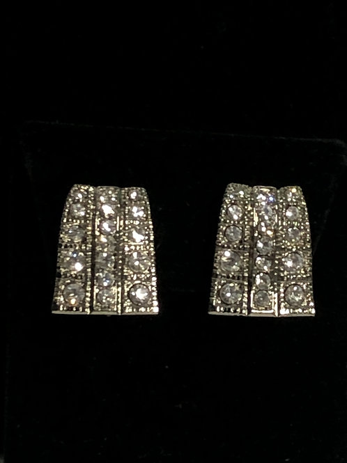 Silver clip earring with Austrian crystals