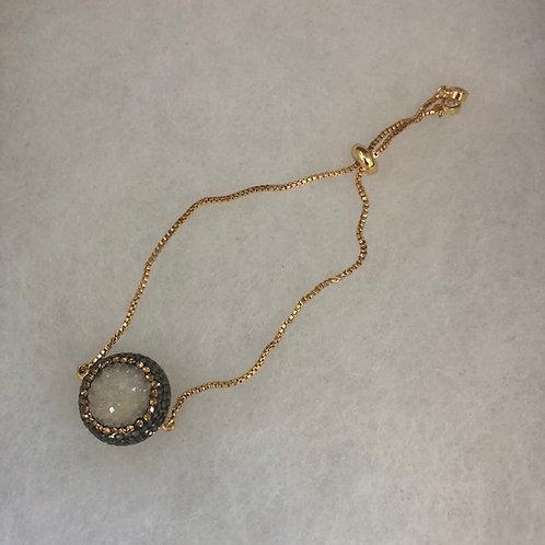 Bolero bracelet with white DRUZY / Swarovski crystals in GOLD