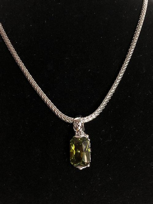 Designer Olive Green  pendant on Magnet chain