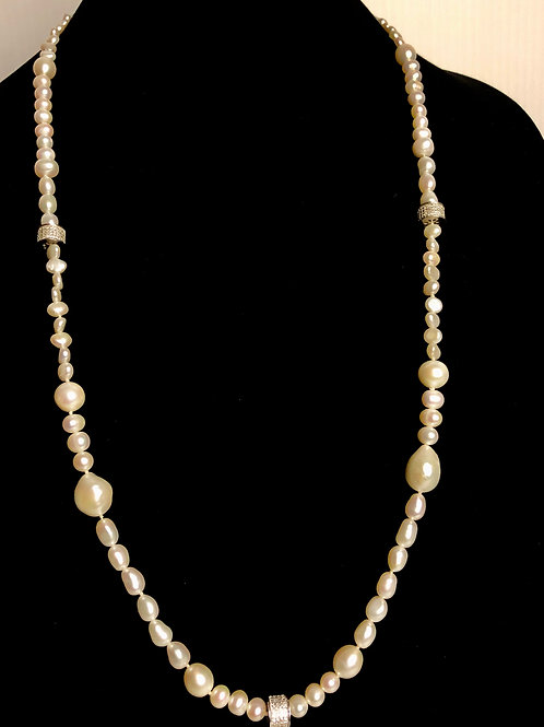 White long white FWP necklace with detailed silver finding