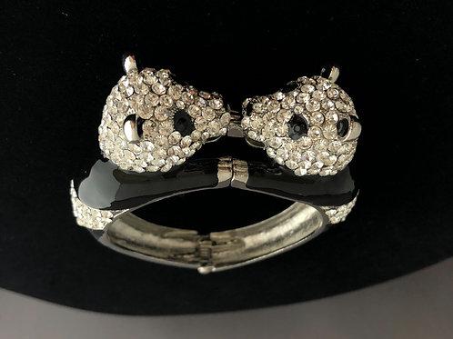 Kissing panda hinged bracelet