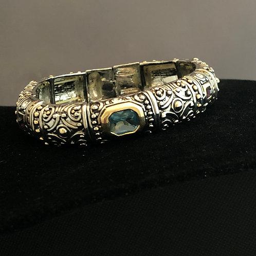 Two tone Designer look bracelet with Aquamarine stone
