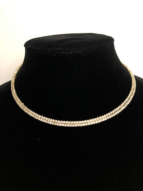 Gold Austrian crystal choker - One size fits all