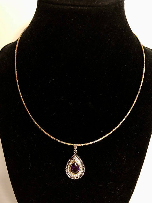 Tear drop Designer PURPLEcubic zircon pendant & Earrings
