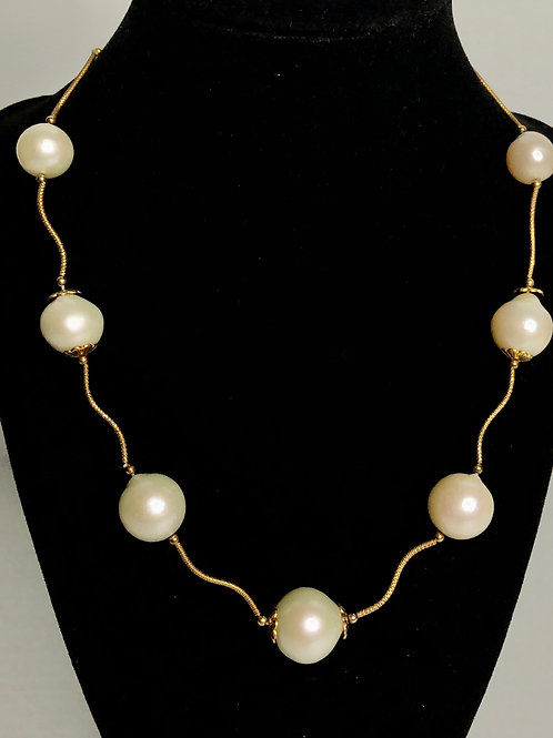Large mm white FWP neclace with 14kt gold  strands