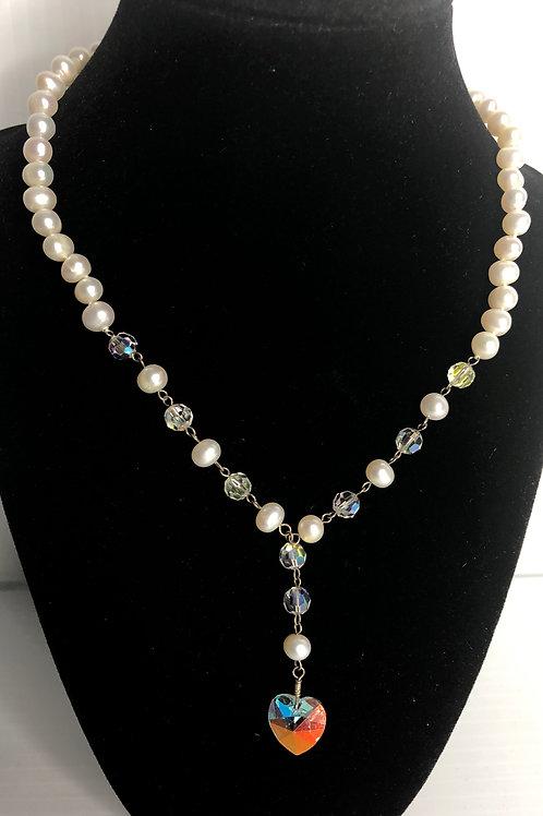 White FWP drop necklace with Aurora Borealis heart