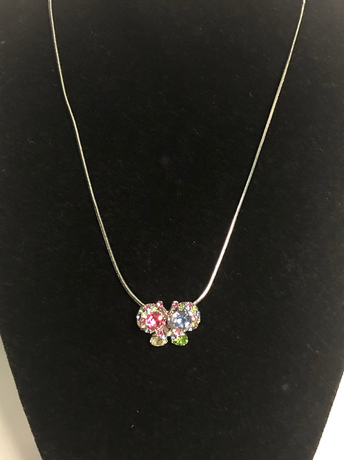 Multi-color crystal butterfly pendant
