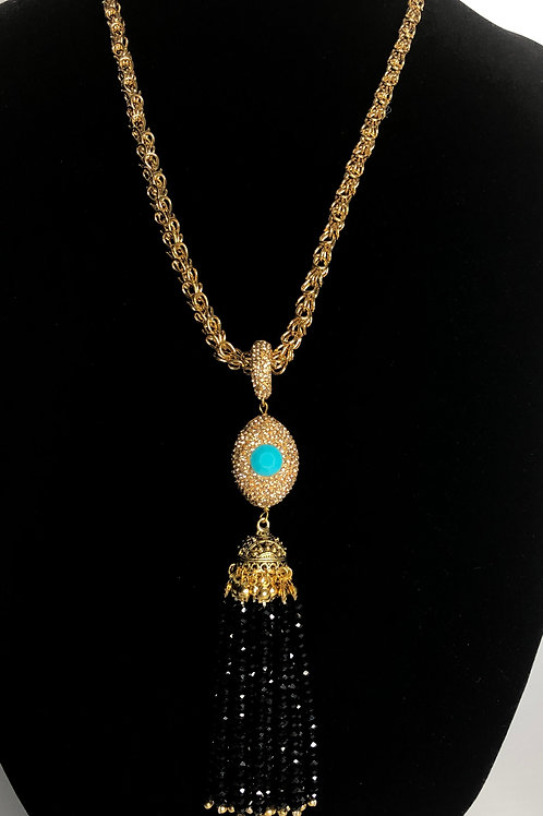 Gold  rope chain with gold/black and turquoise drop detachable