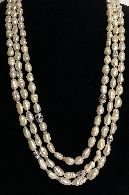 Triple strand white Freshwater Cultured pearl necklace