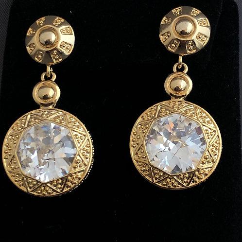 Large gold drop Austrian crystal pierced earrings