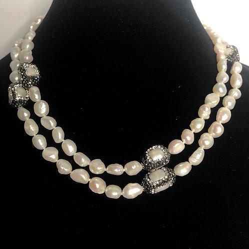 Long white FWP with black Swarovski crystal barreled pieces
