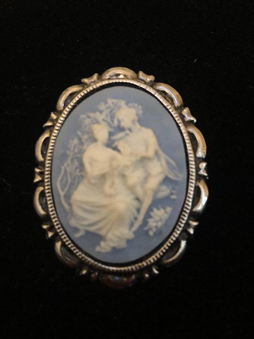 Sky-blue cameo brooch