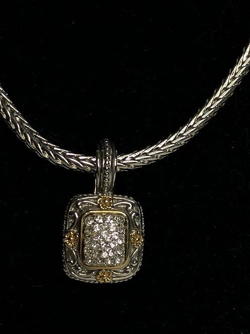 Designer two tone rectangular shaped detachable pendant
