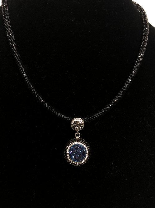 Round Navy Blue Druzy pendant