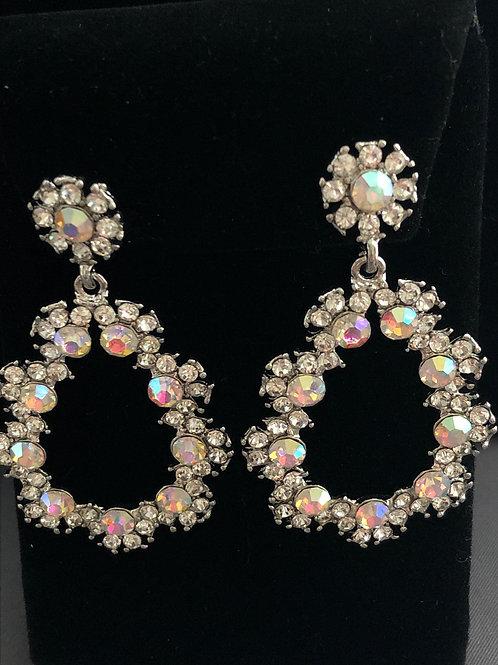 Aurora Borealis flower tear drop chandelier pierced earring