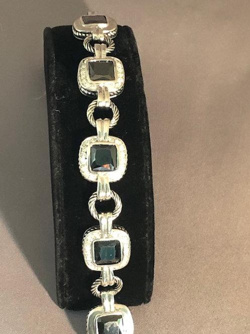 Designer line bracelet with black cubic zircon square stones