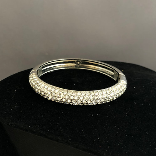 Silver with clear Austrian crystals hinged bracelet