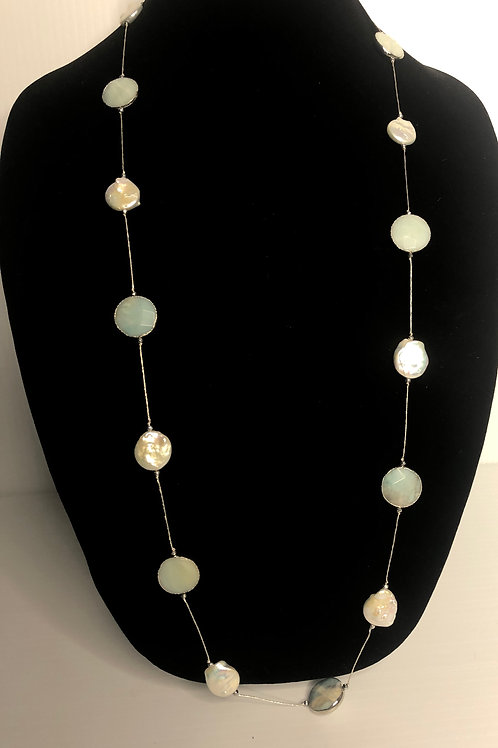 Sterling silver necklace with natural stones and white large mm FWP