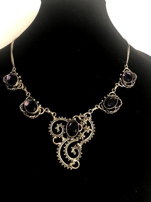 Amethyst stones in sterling silver bib necklace