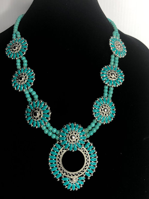 Western howlite in turquoise stones with stainless clasp
