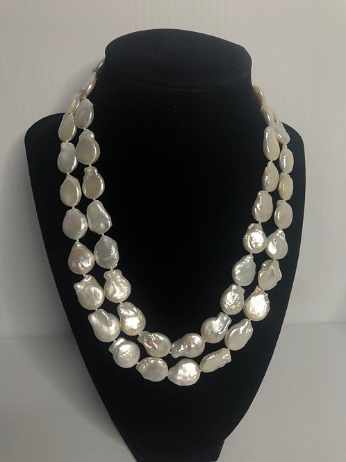 Double strand white FWP coin pearls necklace in sterling silver