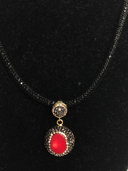 Round shaped Red Coral pendant with Swarovski crystals