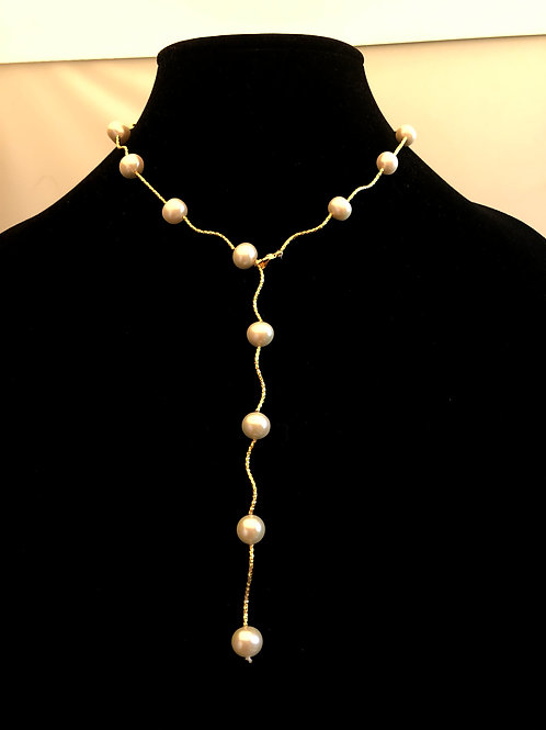 """Gold stainless steeldiamondcut """"Y"""" drop necklace with white Freshwater Culture"""