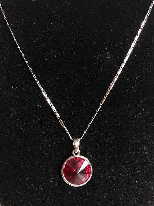 Swarovski crystal round pendant -Red