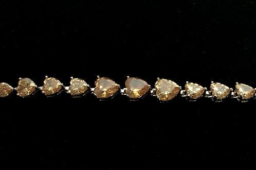Topaz heart shaped Gemstone zircon sterling silver 925 bracelet