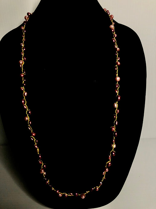Red Freshwater Cultured pearl necklace with gold threading