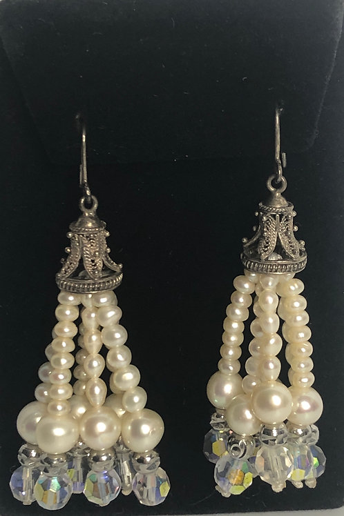 Fringed TASSEL pearls & Czech crystals in sterling silver