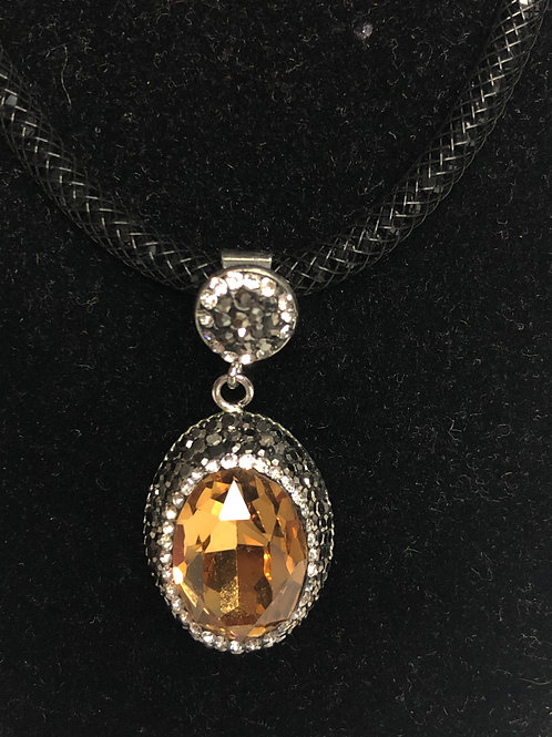 Oval CHAMPAGNE Austrian crystal pendant