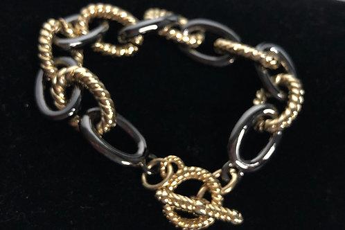 Black and gold Italian design link bracelet